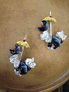 VINTAGE 2 Poodles DOG Pins Scatter Pins w/ Umbrellas