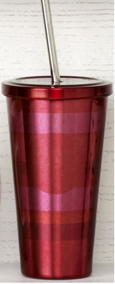 Stainless steel Cold Cup tumbler with red and pink horizontal stripes. #Starbucks #DotCollection