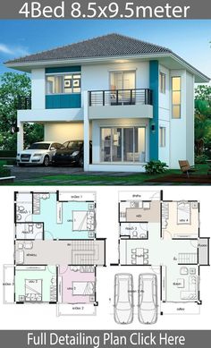 House design plan with 4 bedrooms – Home Design with Plan Haus Design Plan mit 4 Schlafzimmern – Home Design with Plan Two Story House Design, 2 Storey House Design, Simple House Design, Bungalow House Design, House Front Design, Modern House Design, House Layout Plans, Duplex House Plans, Dream House Plans