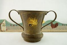 Vintage Rustic Hammered Brass Planter, Urn, or Vase with Brass Handles and a Beautiful Patina, centerpiece