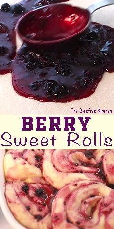 These triple berry sweet rolls are a fun variation of homemade cinnamon rolls. Made with real berries and also have a lemon buttercream frosting. Delicious Desserts, Dessert Recipes, Yummy Food, Strawberry Cinnamon Rolls, Sweet Roll Recipe, Berry Muffins, Raspberry Recipes, Sweet Buns, Honey Buns