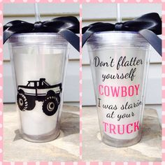 Country Girl Truck Cowboy Lifted Tumbler Cup by TheGirlsinPink Lifted Trucks, Big Trucks, Chevy Trucks, Pickup Trucks, Country Girl Truck, Country Girls, Country Life, Country Quotes, Truck Rims