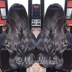 Black to gray ombre hair color using Pravana by amazing hair stylist…