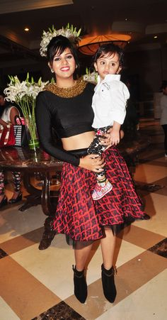 Daljeet Kaur with son Shaarav at a fashion show to stop girl child abuse in association with Anu Ranjan's 'BETI' NGO & at the 1st look launch of documentary Main Tamanna 2