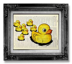 Rubber Duck, Bathroom Decor Accessory, Baby Shower Decoration Poster, Rubber Ducky Funny Bathroom Art Kids Wall Art Print, Dictionary Paper