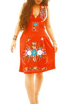 Mexican Dress Embroidered Pleated Weaved Back or V by AidaCoronado, $240.00