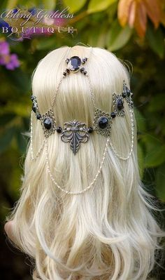 Nightflower Circlet by BlingGoddessBoutique on Etsy Bobby Pin Hairstyles, Headband Hairstyles, Braided Hairstyles, Hair Accessories For Women, Fashion Accessories, Wedding Headdress, Head Scarf Styles, Head Jewelry, Jewellery