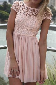Short Sleeve Crochet Flower Spliced Dress