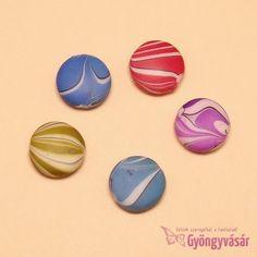 Vegyes cukorka lencse - akril gyöngy (5 db)