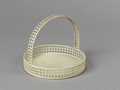 Iron cake basket with handle, painted white, designed by Josef Hoffmann and made by the Weiner Werkstatte, Joseph Hoffman, Cake Basket, Ceramic Pots, Arts And Crafts Movement, Victoria And Albert Museum, Sheet Metal, Minimal Design, Metal Working, Art Nouveau