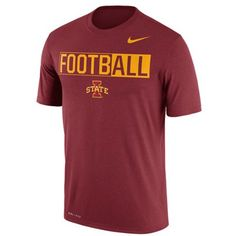 Nike Men's Iowa State Cyclones Legend Football T-Shirt (€27) ❤ liked on Polyvore featuring men's fashion, men's clothing, cardinal red, nike mens clothing, mens apparel, nike mens apparel and mens clothing