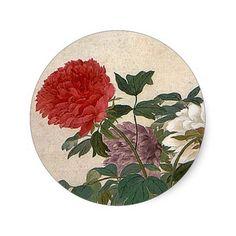 Yun Shouping Peonies Classic Round Sticker