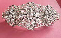 Wedding Hair Piece,Hair Clip, Barrette or Comb, Rhinestone Crystal Flowers, Bridal Hair Piece. $39.50, via Etsy.