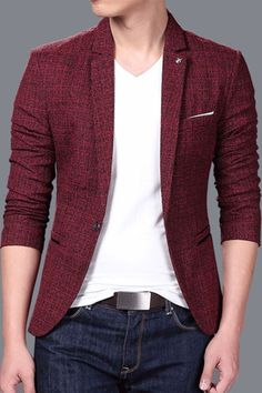 Plain Slim Fit Notched Lapel One Button Men's Leisure Blazer Blazer And T Shirt, Blazer Outfits Men, Mens Fashion Blazer, Mens Fashion Wear, Stylish Mens Outfits, Men Blazer, Mens Blazer Styles, Mens Dressing Styles Casual, Man Dressing Style