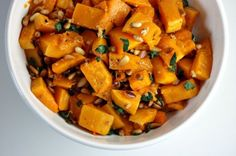 Roasted+Butternut+Squash+with+Sage+and+Pine+Nuts  INGREDIENTS  3+lbs+butternut+squash,+peeled,+seeded+and+cut+into+3/4-inch+cubes+-+click+here+to+learn+how 2+tbsp+olive+oil,+divided 1+tsp+kosher+salt 1/2+tsp+freshly+ground+black+pepper 2+large+garlic+cloves,+minced 2+tbsp+finely+chopped+fresh+sage 1/3+cup+pine+nuts Total+Time:+45+-+1+Hou