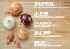 differences between yellow, red, white, sweet onions and shallots