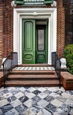 Feng Shui and The Front Entrance. : those green doors! feng shui and the front entrance Brick, Doors, House Exterior, Interior And Exterior, Windows And Doors, Front Door Colors, Front Entrances, House Colors, Green Front Doors