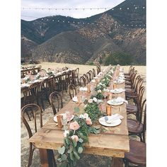 One last shot of yesterday's dinner reception - gorgeous farm tables bentwood chairs copper tumblers gold flatware blush and clear cut crystal goblets linen napkins and lush runners of foliage and blooms - so much fun watching this one come together cc: Farm Table Wedding, Wedding Table Decorations, Wedding Dinner, Garland Wedding, Wedding Table Settings, Reception Table, Wedding Centerpieces, Rustic Wedding, Wedding Reception