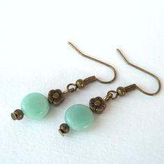 Handmade amazonite gemstone bronze earrings £6.00