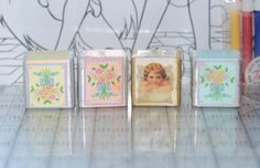 Vintage Bath Cube Lot Bath Salt Set Soak angel flower floral bouqet #DuCair