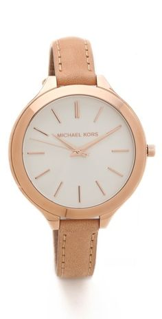 Michael Kors Leather Slim Runway Watch-- I kinda love this slim band