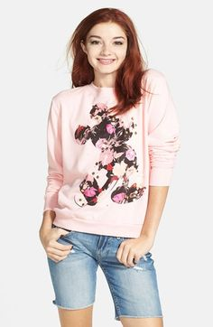Mighty Fine Floral Mickey Mouse Sweatshirt (Juniors) (Online Only) available at #Nordstrom