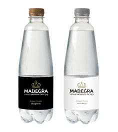 Holy water bottle for Madegra. Acqua santa Madegra: naturale e frizzante. Juice Packaging, Brand Packaging, Packaging Design, Label Design, Web Design, Fruit Pastilles, Agua Mineral, Beautiful Houses Interior, Water Bottle Labels