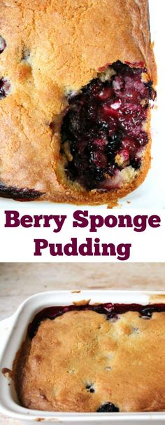 Berry sponge pudding - a quick and easy dessert to make using frozen berries Pudding Desserts, Pudding Cake, Pudding Recipes, Dessert Recipes, Fruit Recipes, Recipies, Easy To Make Desserts, Delicious Desserts, Hot Desserts