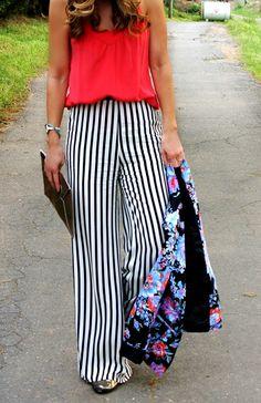 @Zara Lamey Lamey striped pants @asos.com.com floral blazer www.theBsoup.com