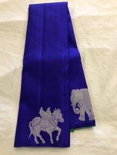 Want to book Blue Silk Saree, Kanjivaram Sarees Silk, Indian Silk Sarees, Kanchipuram Saree, Soft Silk Sarees, Pattu Saree Blouse Designs, Half Saree Designs, Trendy Sarees, Stylish Sarees
