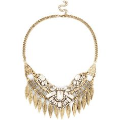 Sole Society Crystal Leaf Statement Necklace ($50) ❤ liked on Polyvore featuring women's fashion, jewelry, necklaces, accessories, collares, gold, leaf necklace, chain statement necklace, chain collar necklace and leaves necklace