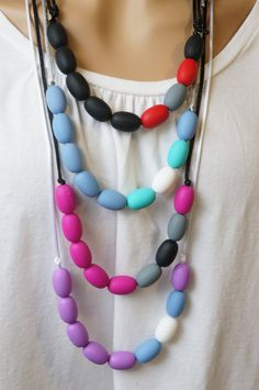 Teething Beads Adjustable Necklace for Mom or Dad- Round Oval 45efbafedb0