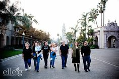 group walk at Balboa Park family portrait