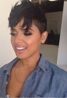 This is what my hairstyle is based off of. Short Sassy Hair, Short Hair Cuts, Short Hair Styles, Natural Hair Styles, Pixie Cuts, Short Pixie, Straight Hair, Black Power, Hair Colorful