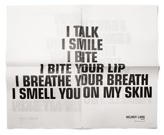 Helmut Lang perfume campaign.Artwork by Jenny Holzer.Art direction by Marc Atlan.