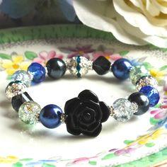 Bracelet - 'Midnight Rose' - black, grey and blue - vintage style - FREE UK P Vintage Inspired, Vintage Style, Vintage Fashion, Free Uk, Black And Grey, June, Beaded Bracelets, Bling, Jewels