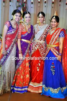 Teenagers spotted in latest designer half sarees at a wedding event. Related PostsTeenagers in Half SareesLatest Celebrity Half SareesUgadi Half Sarees Collection by Trisha TrendsStunning Half Saree for Teenagers Half Saree Lehenga, Kids Lehenga, Lehenga Style, Saree Blouse, Lehenga Gown, Bridal Lehenga, Indian Dresses, Indian Outfits, Indiana