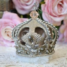 Elegant 3 Champagne French Crown Ornament #thebellacottage #decorate #shabbychic