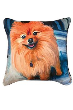 """Blue Pom Square Throw Pillow features famous painting """"Blue Pom"""" by Robert McClintock.Recommended for indoor and outdoor use. Woven on jacquard looms.  Measures: 18"""" x 18""""  Pomeranian Pillow by Manual Woodworkers and Weavers. Home & Gifts - Home Decor - Pillows & Throws Oregon"""