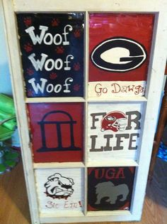 Old Window painted Ga Bulldogs; follow Sassy Southern Art on FB