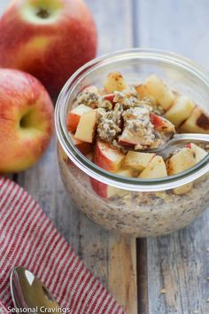 Apple Pie Overnight Oats are hearty, satisfying and oh so filling. Sweet, creamy and full of protein and fiber, this breakfast will keep you full until lunch! Easy to make in five minutes. Oats Recipes, Cooking Recipes, Diet Recipes, Brunch Recipes, Breakfast Recipes, Breakfast Ideas, Chia Overnight Oats, Gluten Free Breakfasts, Sweet Breakfast