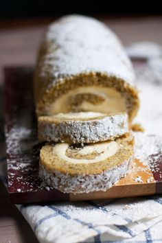 Banana Cake Roll with Caramel Cream Cheese Filling via The Baker Chick