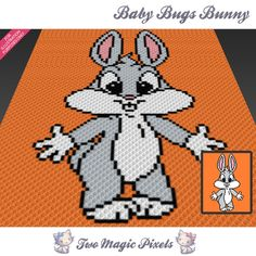 Baby Bugs Bunny c2c graph crochet pattern; instant PDF download; looney tunes;