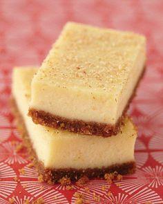 Elizabeth's Eggnog Cheesecake Bars Recipe. Wonder if I could use some Evan Williams Egg Nog?
