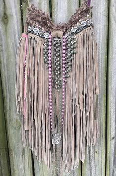 WOW Handmade Grayish Taupe Suede Fringe Bag Hippie Boho Hippie Purse OOAK B.Joy  | eBay
