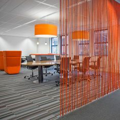 CELL stripfelt roomdividers l design: lamaconcept.nl l client: Sogeti Nederland l architect: MVINTBRO l 2013 Office Screens, Office Dividers, Office Decor, Office Partitions, Room Dividers, Open Space Office, Small Office, Office Interior Design, Office Interiors