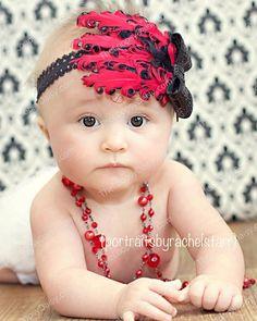 Baby Feather Headband, Baby bows Headband, Curled Feather Headband, Flapper Headband, Feather Headband, Adult Headband via Etsy