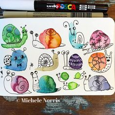 Snail Doodle for day Take it slow today🐌🐌🐌 . Snail Doodle for day Take it slow today🐌🐌🐌 . Watercolor And Ink, Watercolour Painting, Painting & Drawing, Drawing Drawing, Garden Drawing, Watercolours, Wings Drawing, Michele Norris, Illustration Inspiration