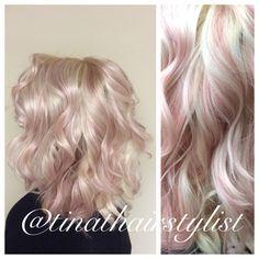 Insta: @tinathairstylist Pastel pink dream highlights, curly hair, beach waves. Platinum blonde.