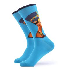 Cleopatra is our latest socks design with a beautiful impression of the Egyptian queen with a deep blue Nile color. History and geography lovers, finally something for you is in here. Made with 80% Cotton, 17% Nylon, and 3% Spandex, these Women's socks are perfect for US 6-10 (Women's US Shoe Size). Funky Socks, Blue Socks, Crazy Socks, Cool Socks, Egyptian Queen, Russian Ballet, Renaissance Dresses, Ballet Costumes, Fashion Design Sketches